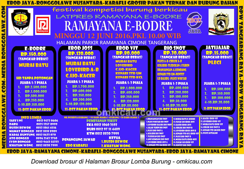 Brosur Latpres Burung Berkicau Ramayana E-Bodre, Tangerang, 12 Juni 2016