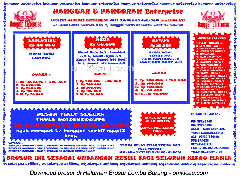 Brosur Latpres Hanggar Pancoran Enterprise, Jakarta Selatan, 5 Juni 2016