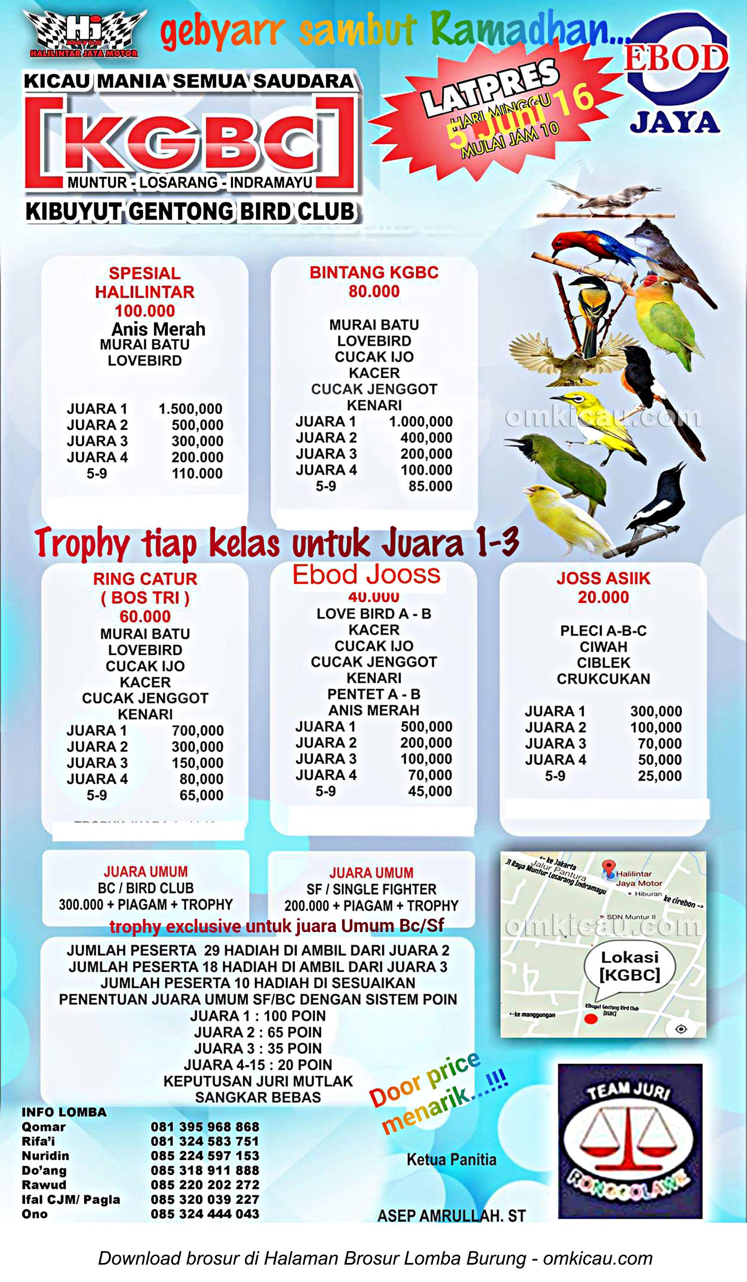 Brosur Latpres KGBC Sambut Ramadhan, Indramayu, 5 Juni 2016