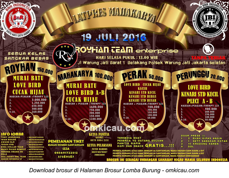 Brosur Latpres Mahakarya Royhan Team Enterprise, Jakarta Selatan, 19 Juli 2016