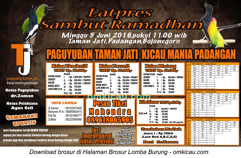 Brosur Latpres Sambut Ramadhan Paguyuban Taman Jati Kicau Mania Padangan, Bojonegoro, 5 Juni 2016