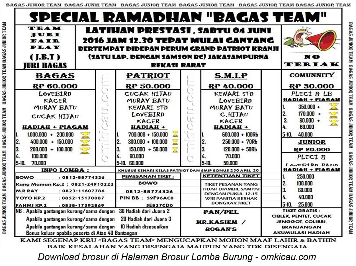 Brosur Latpres Special Ramadhan Bagas Team, Bekasi Barat, 4 Juni 2016