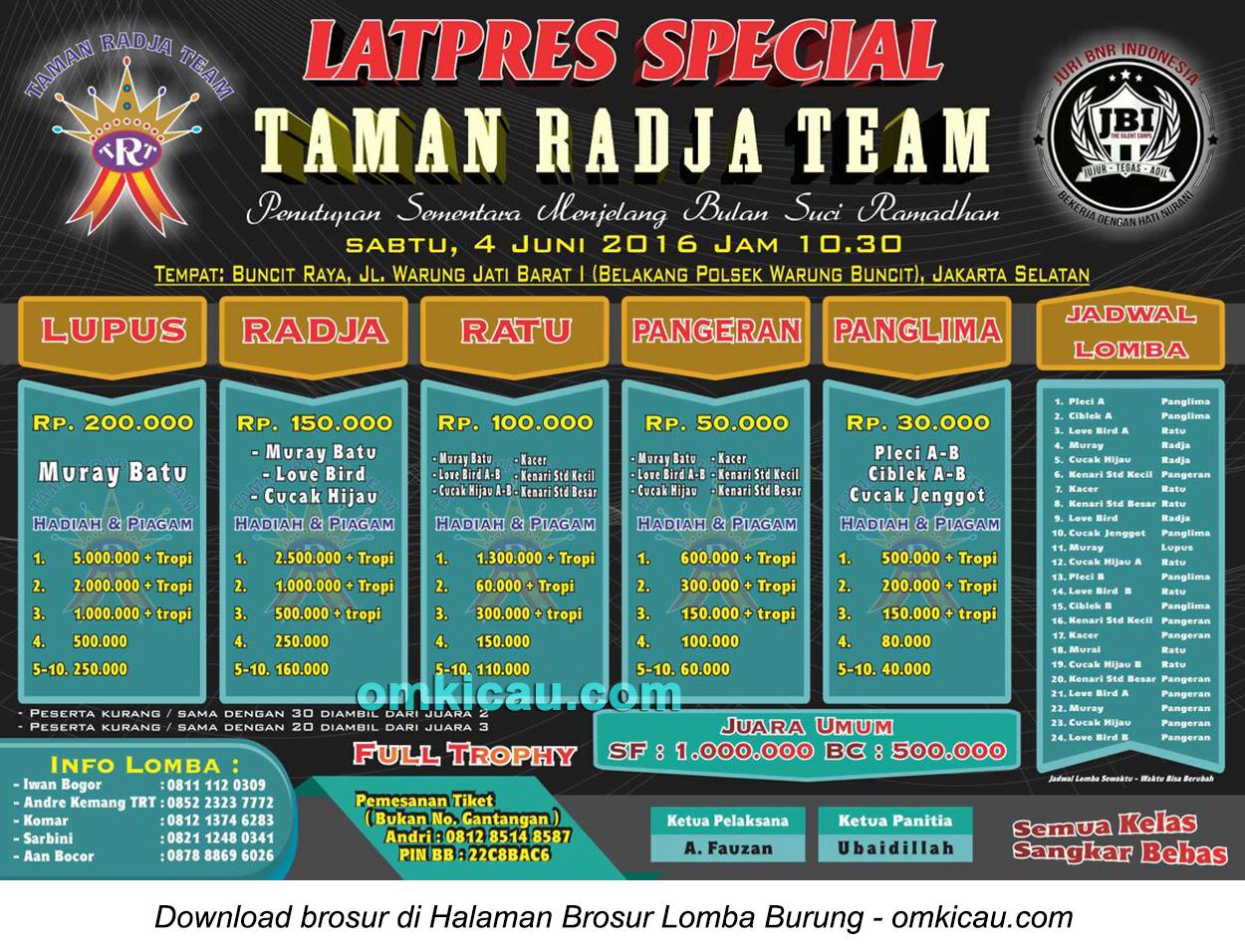 Brosur Latpres Special Taman Radja Team, Jakarta Selatan, 4 Juni 2016