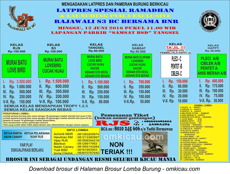 Brosur Latpres Spesial Ramadhan Rajawali S3 BC bersama BnR, Tangerang Selatan, 12 Juni 2016
