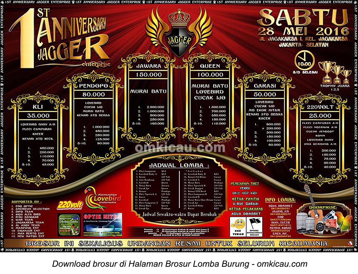 Brosur Lomba Burung Berkicau 1st Anniversary Jagger, Jakarta Selatan, 28 Mei 2016