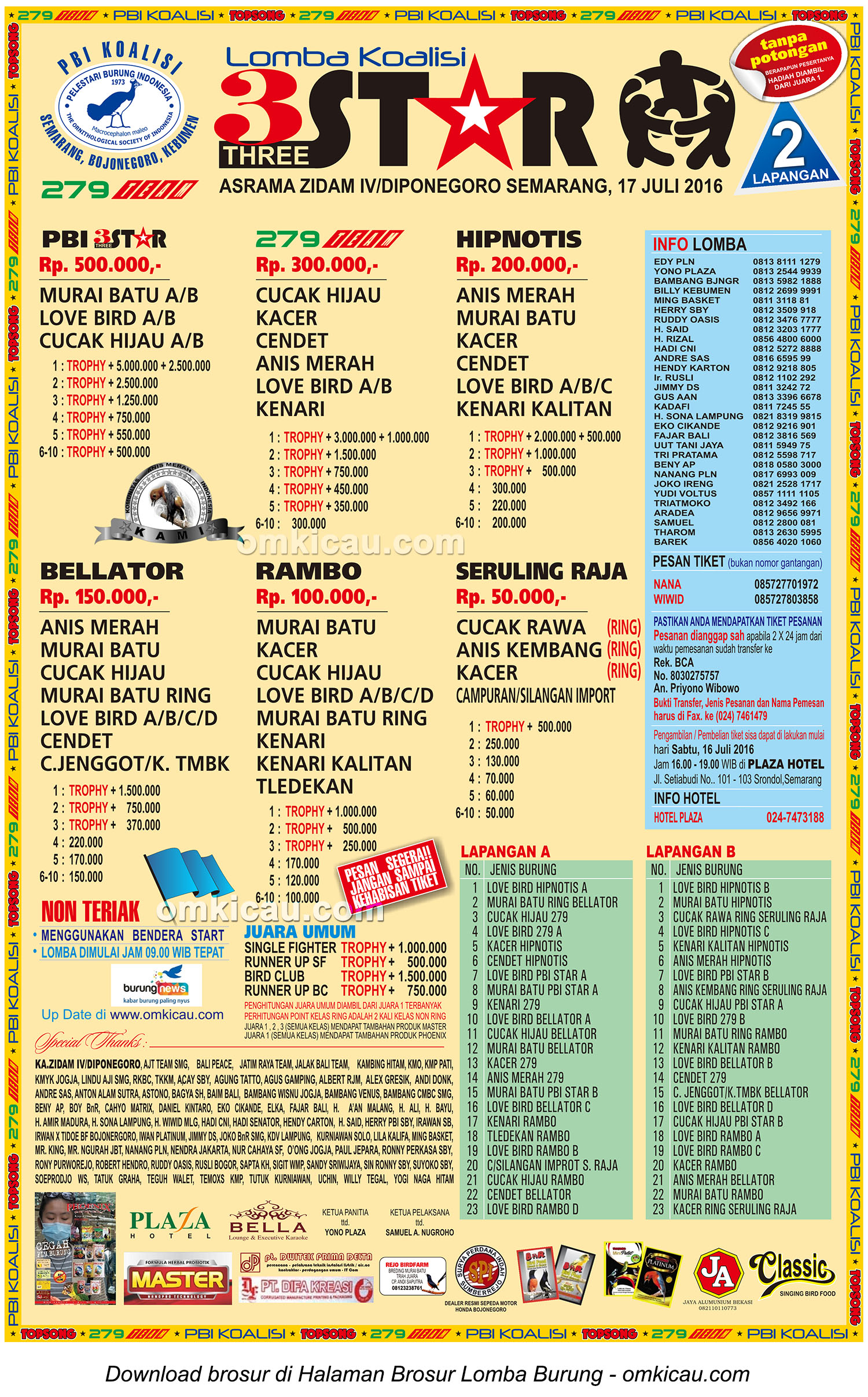 Brosur Lomba Burung Berkicau 3 Star, Semarang, 17 Juli 2016