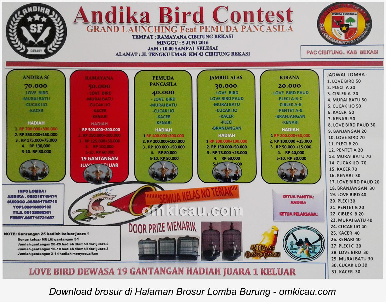 Brosur Lomba Burung Berkicau Andika Bird Contest, Bekasi, 5 Juni 2016