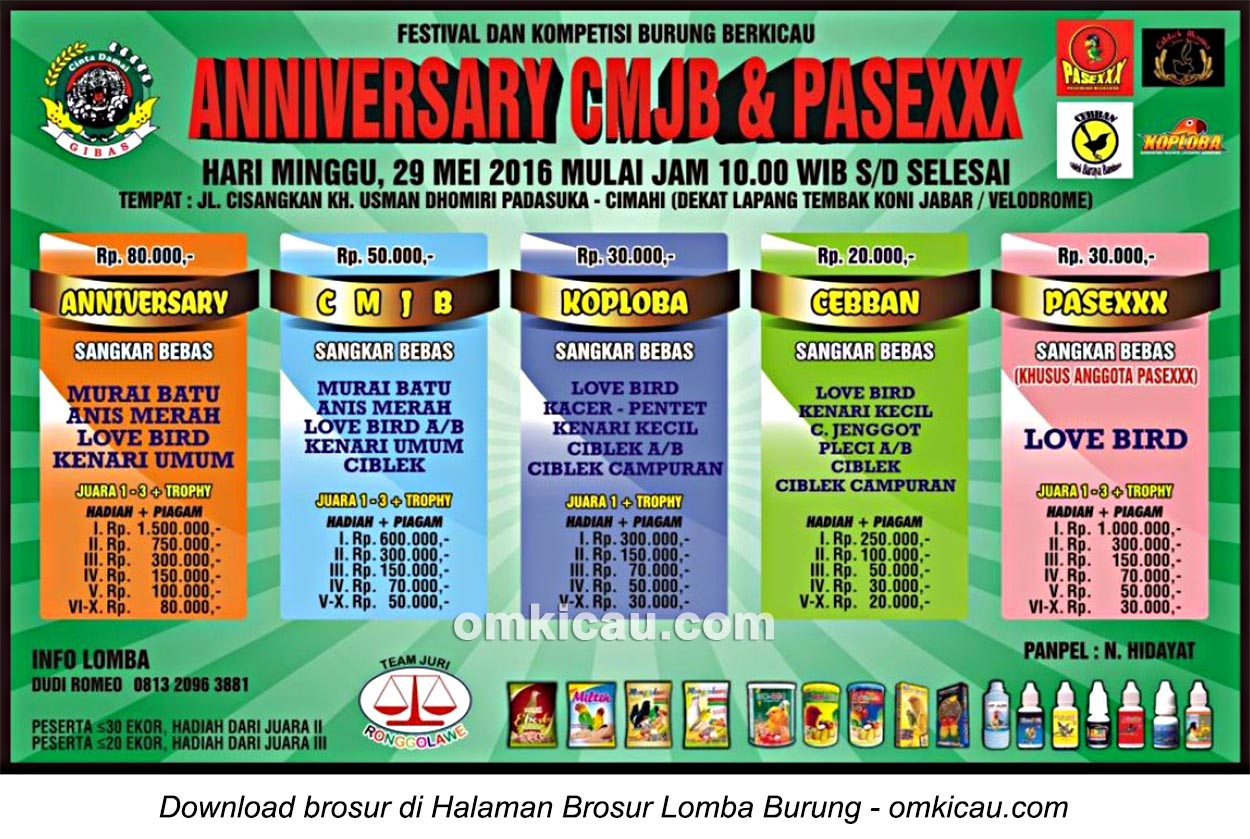 Brosur Lomba Burung Berkicau Anniversary CMJB & Pasexxx, Cimahi, 29 Mei 2016
