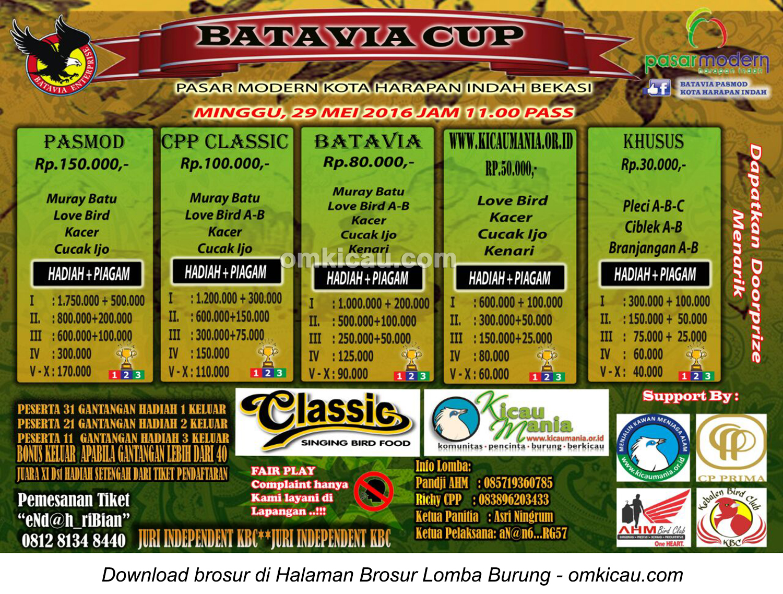 Brosur Lomba Burung Berkicau Batavia Cup, Bekasi, 29 Mei 2016