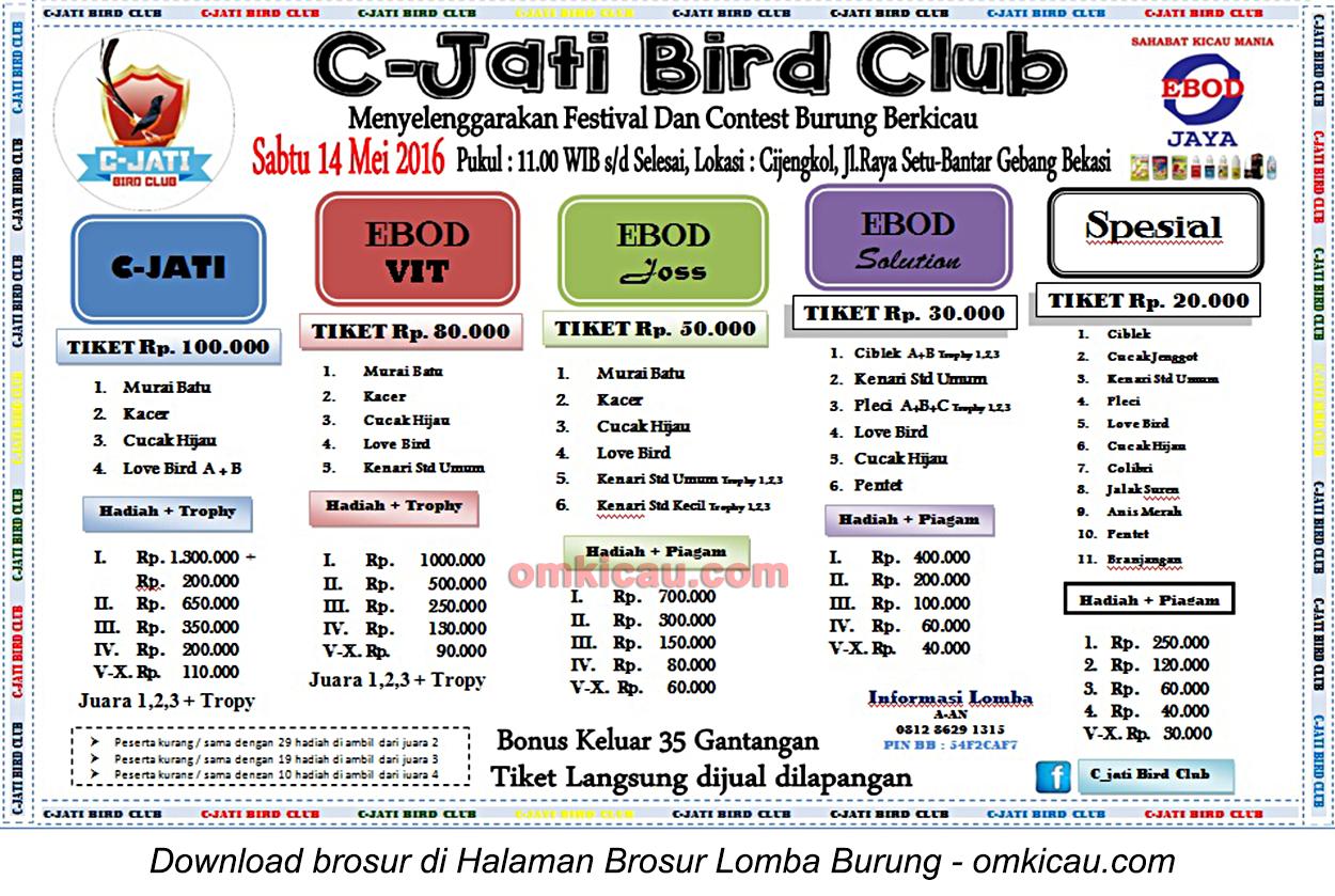 Brosur Lomba Burung Berkicau C-Jati Bird Club, Bekasi, 14 Mei 2016