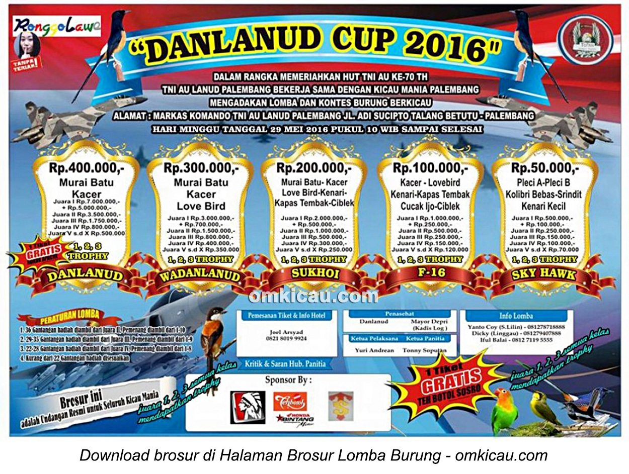 Brosur Lomba Burung Berkicau Danlanud Cup, Palembang, 29 Mei 2016