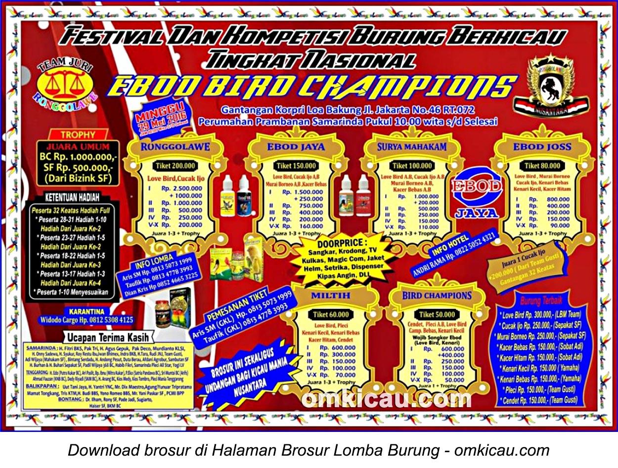 Brosur Lomba Burung Berkicau Ebod Bird Champions, Samarinda, 29 Mei 2016