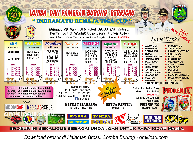 Brosur Lomba Burung Berkicau Indramayu Remaja Tiga Cup, 29 Mei 2016