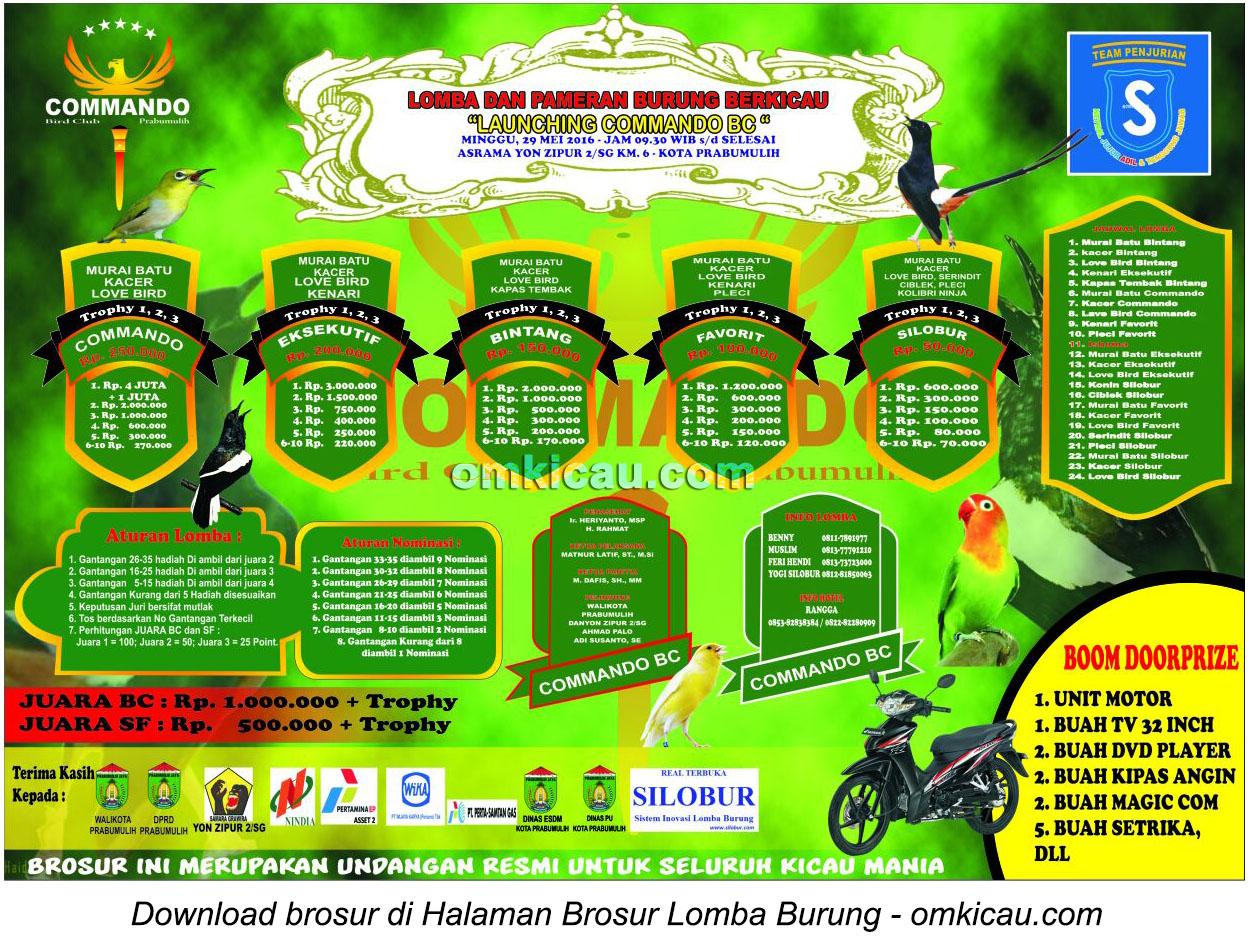 Brosur Lomba Burung Berkicau Launching Commando BC, Prabumulih, 29 Mei 2016
