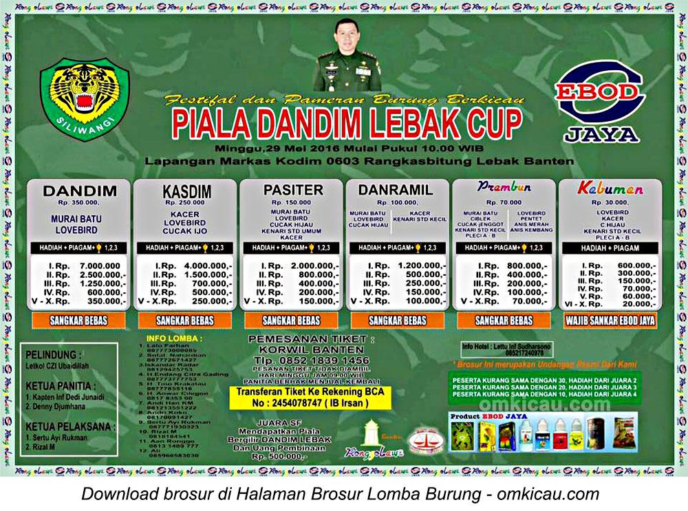 Brosur Lomba Burung Berkicau Piala Dandim Lebak Cup, 29 Mei 2016