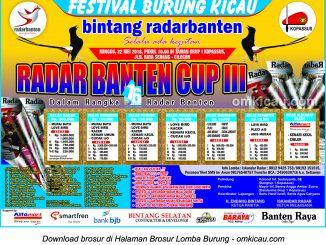 Brosur Lomba Burung Berkicau Radar Banten Cup III, Serang, 22 Mei 2016
