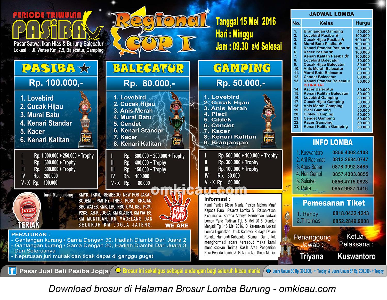 Brosur Lomba Burung Berkicau Regional Cup I - Pasiba, Jogja, 15 Mei 2016