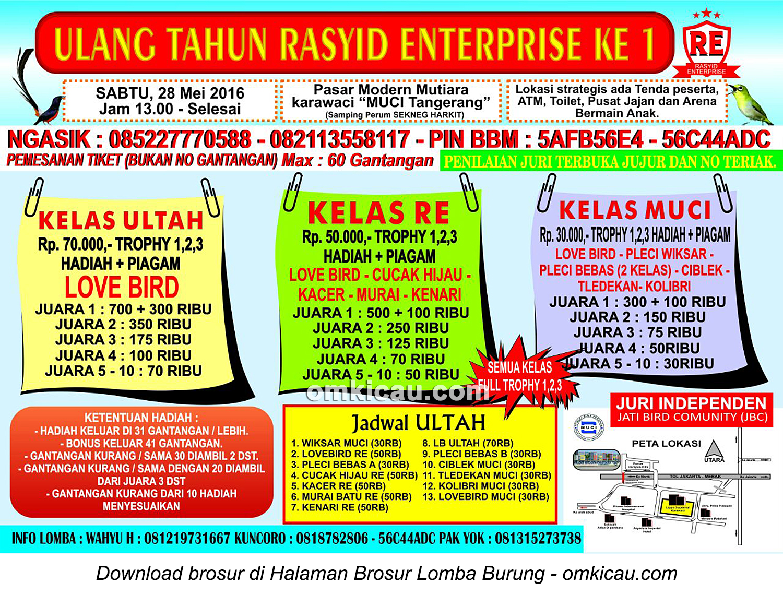 Brosur Lomba Burung Berkicau Ultah Ke-1 Rasyid Enterprise, Tangerang, 28 Mei 2016
