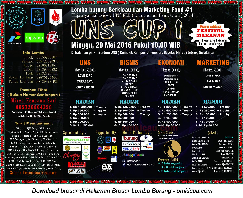 Brosur Lomba Burung Berkicau UNS Cup 1, Solo, 29 Mei 2016
