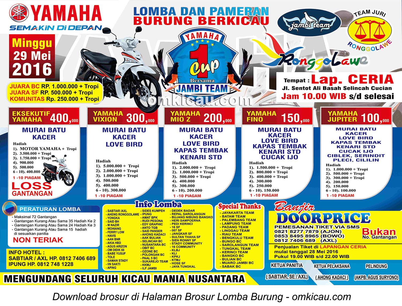 Brosur Lomba Burung Berkicau Yamaha Cup 1, Kota Jambi, 29 Mei 2016