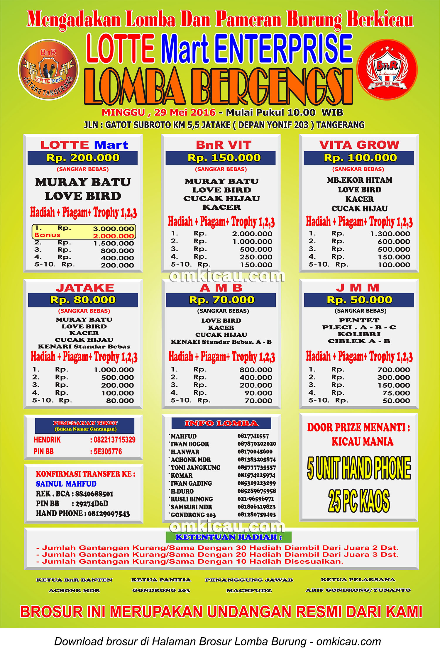 Brosur Revisi Lomba Bergengsi Lotte Mart Enterprise Tangerang, 29 Mei 2016