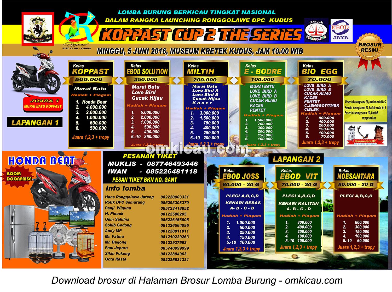 Brosur Revisi Lomba Burung Berkicau Koppast Cup 2 The Series, Kudus, 5 Juni 2016