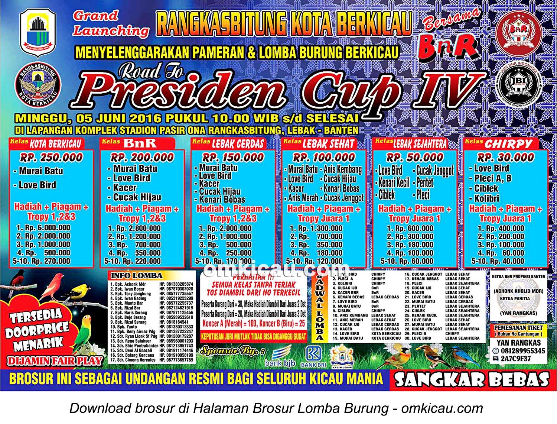 Brosur Road to Presiden Cup IV-Launching Rangkasbitung Kota Berkicau, Lebak, 5 Juni 2016