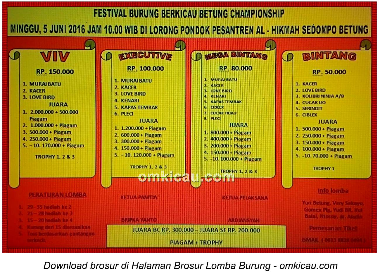 Brosur Festival Burung Berkicau Betung Championship, Betung, 5 Juni 2016