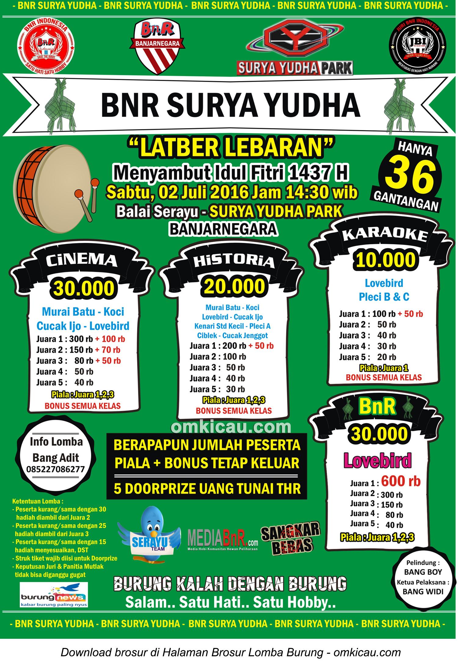 Brosur Latber Menyambut Idul Fitri 1437 H - BnR Surya Yudha, Banjarnegara, 2 Juli 2016