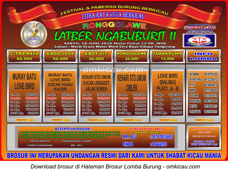 Brosur Latber Ngabuburit II Citra Raya Kota Berkicau, Tangerang, 18 Juni 2016