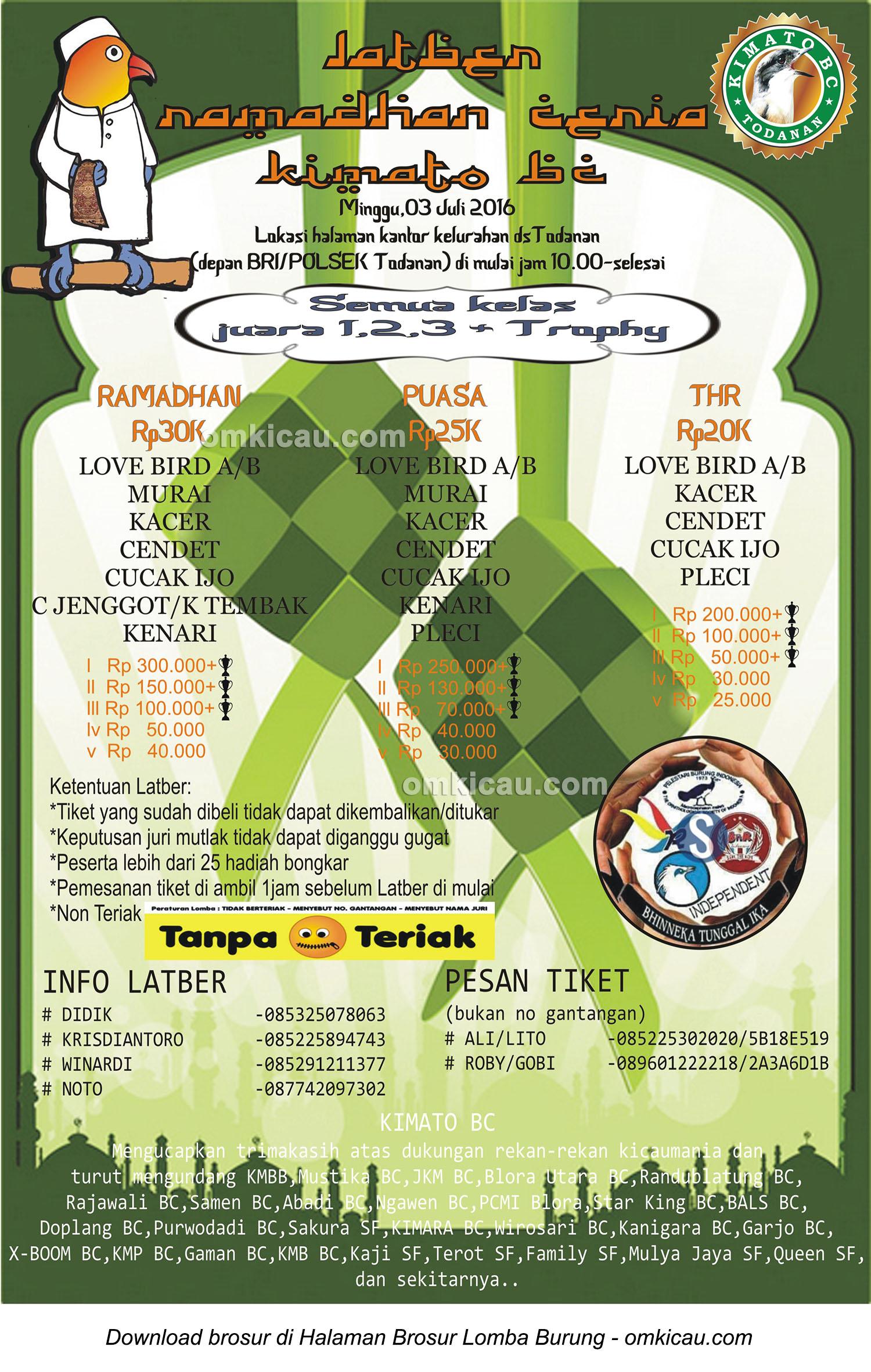 Brosur Latber Ramadhan Ceria Kimato BC, Blora, 3 Juli 2016