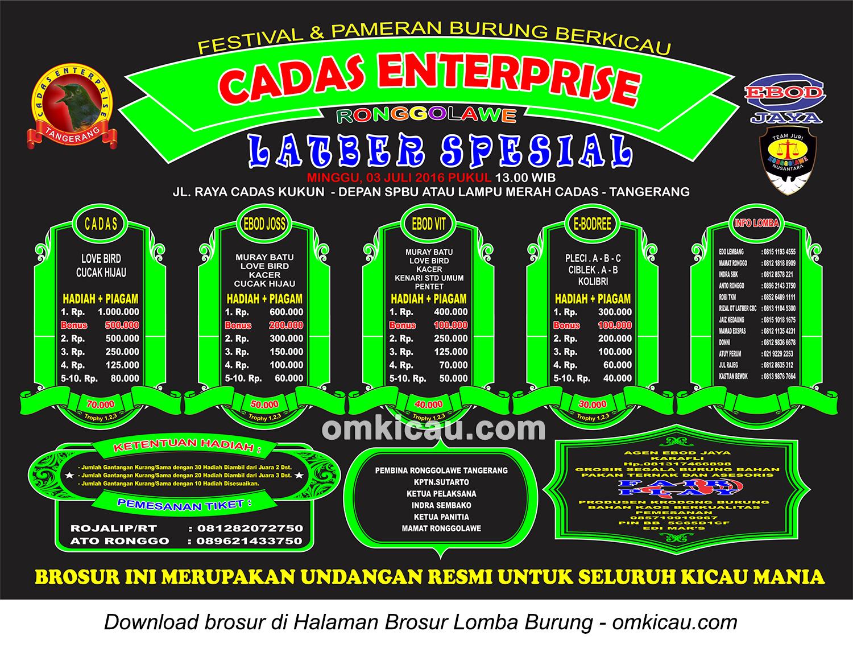 Brosur Latber Spesial Cadas Enterprise, Tangerang, 3 Juli 2016