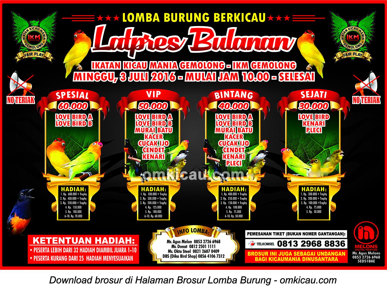 Brosur Latpres Bulanan IKM Gemolong, Sragen, 3 Juli 2016