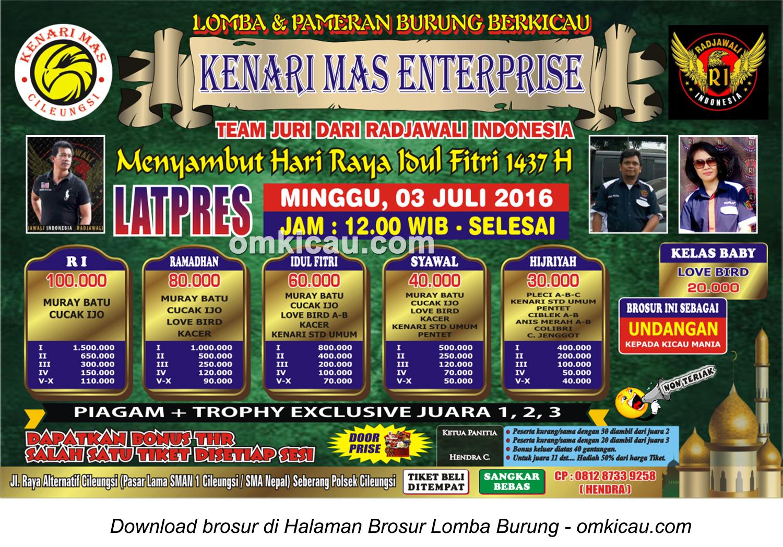 Brosur Latpres Kenari Mas Enterprise, Bogor, 3 Juli 2016