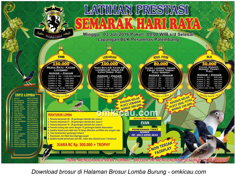 Brosur Latpres Semarak Hari Raya, Palembang, 3 Juli 2016