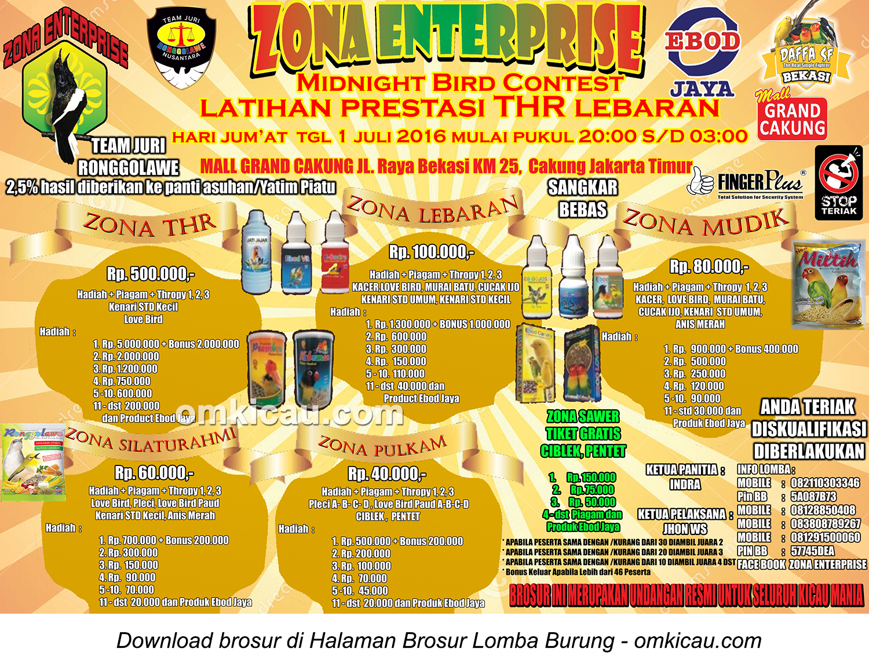 Brosur Latpres THR Lebaran Zona Enterprise, Jakarta Timur, 1 Juli 2016