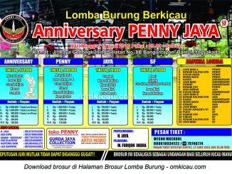 Brosur Lomba Burung Berkicau Anniversary Penny Jaya, Jogja, 19 Juni 2016