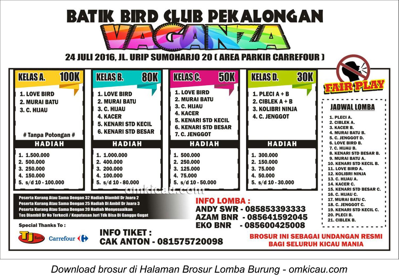 Brosur Lomba Burung Berkicau Batik Bird Club Vaganza, Pekalongan, 24 Juli 2016