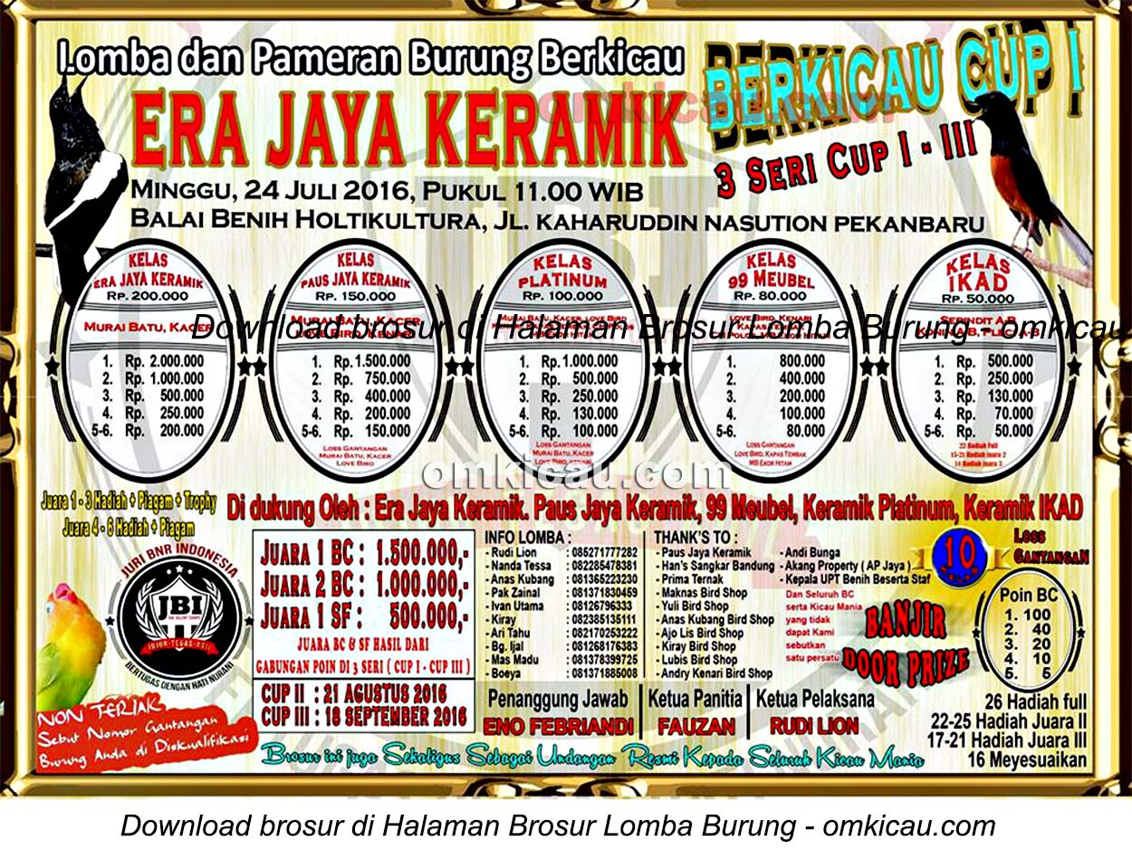 Brosur Lomba Burung Berkicau Eka Jaya Keramik Cup Seri I, Pekanbaru, 24 Juli 2016