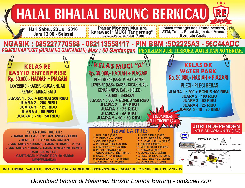 Brosur Lomba Burung Berkicau Halal Bihalal Rasyid Enterprise, Tangerang, 23 Juli 2016
