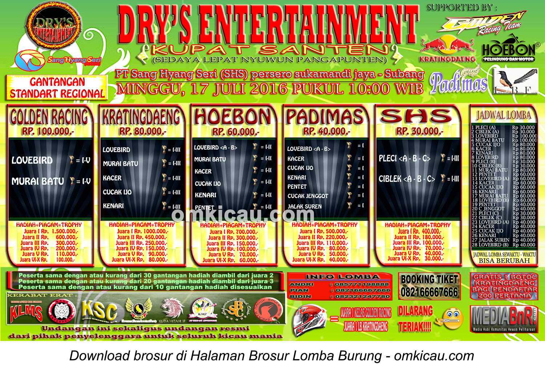 Brosur Lomba Burung Berkicau Kupat Santen Dry's Enterprise, Subang, 17 Juli 2016