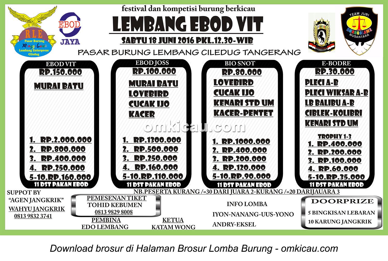 Brosur Lomba Burung Berkicau Lembang Ebod Vit, Tangerang, 18 Juni 2016