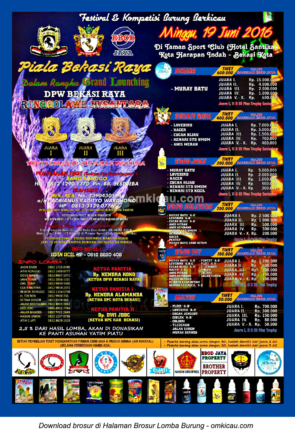Brosur Lomba Burung Berkicau Piala Bekasi Raya, Bekasi, 19 Juni 2016