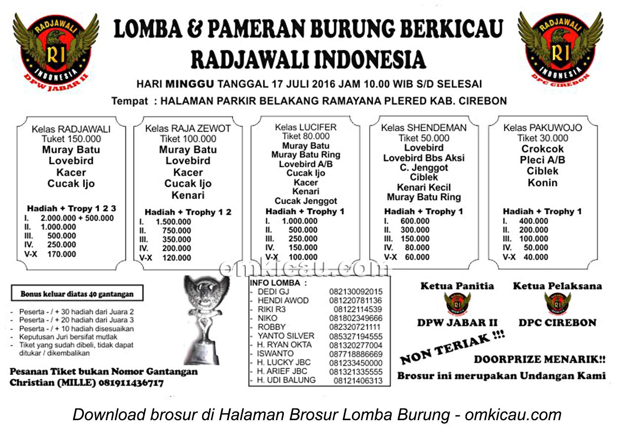Brosur Lomba Burung Berkicau Radjawali Indonesia, Cirebon, 17 Juli 2016