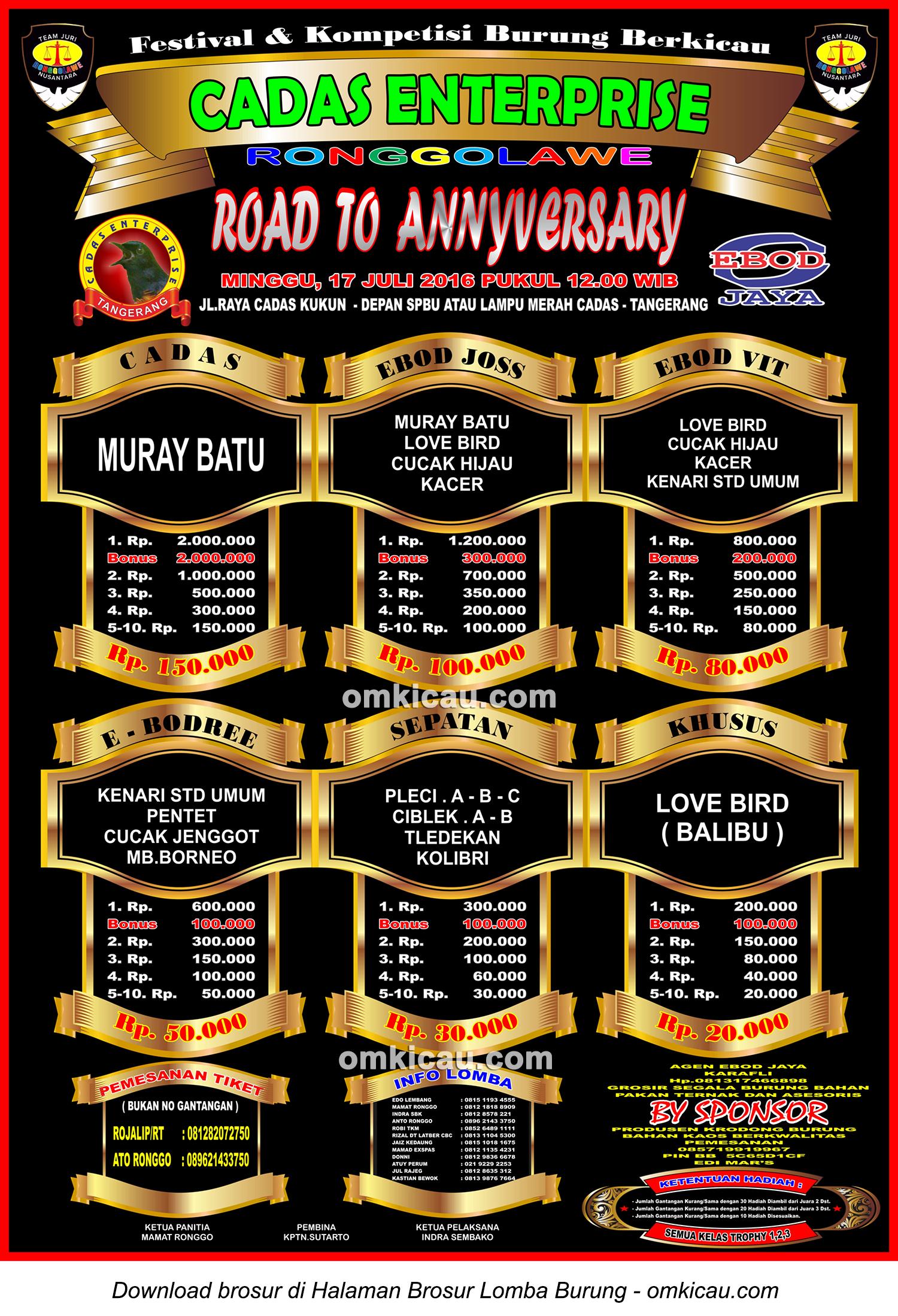 Brosur Lomba Burung Berkicau Road to Anniversary Cadas Enterprise, Tangerang, Minggu 17 Juli 2016