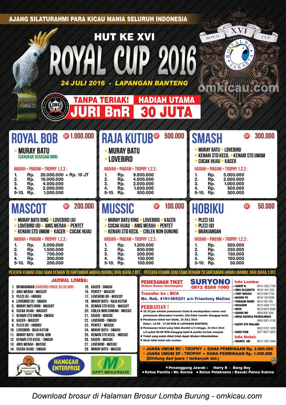 Brosur Lomba Burung Berkicau Royal Cup 2016, Jakarta, 24 Juli 2016
