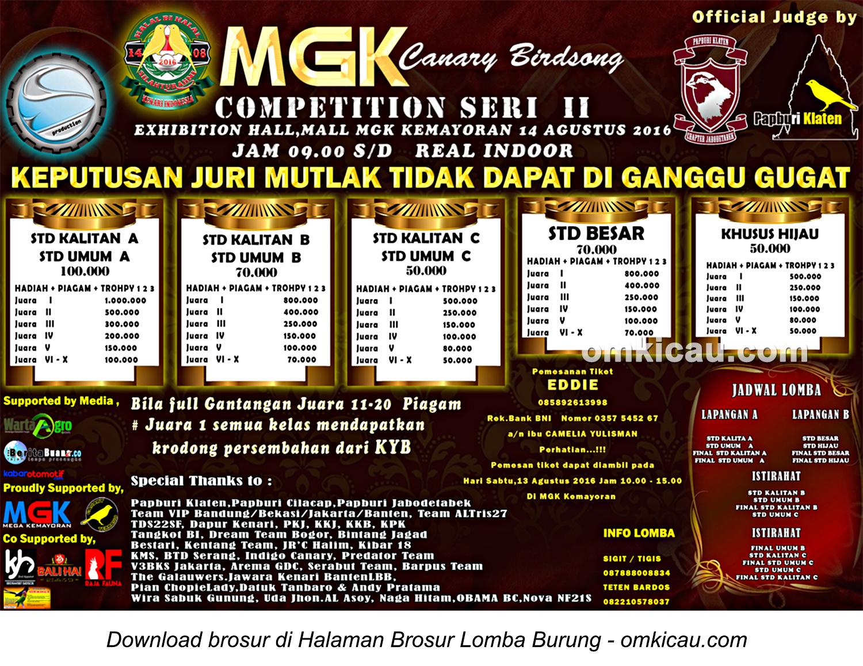 Brosur MGK Canary Bird Song Competition Seri II, Jakarta, 14 Agustus 2016