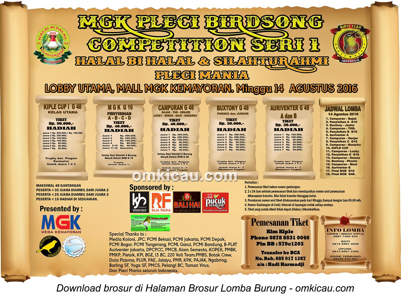 Brosur MGK Pleci Birdsong Competition Seri 1, Jakarta, 14 Agustus 2016