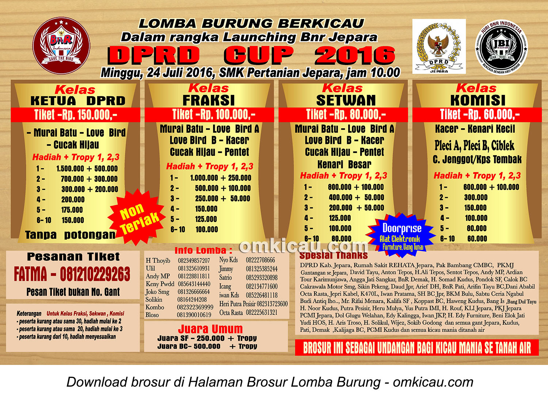 Brosur Revisi Lomba Burung Berkicau DPRD Cup - Launching BnR Jepara, 24 Juli 2016