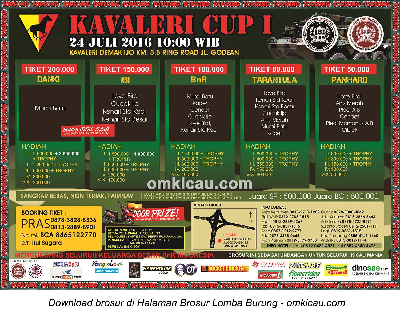 Brosur Revisi Lomba Burung Berkicau Kavaleri Cup I, Jogja, 24 Juli 2016